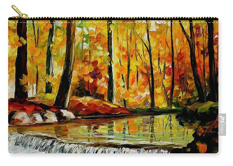 Afremov Carry-all Pouch featuring the painting Forest Stream by Leonid Afremov