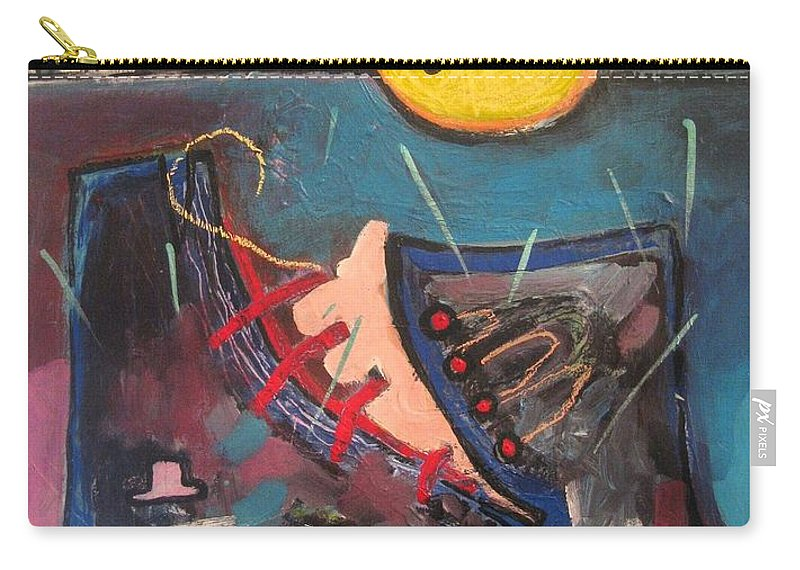 Abstract Paintings Carry-all Pouch featuring the painting Forgotten Days by Seon-Jeong Kim