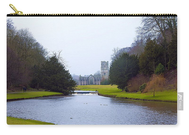 Castle Carry-all Pouch featuring the photograph Fountains Abbey Lake by Svetlana Sewell