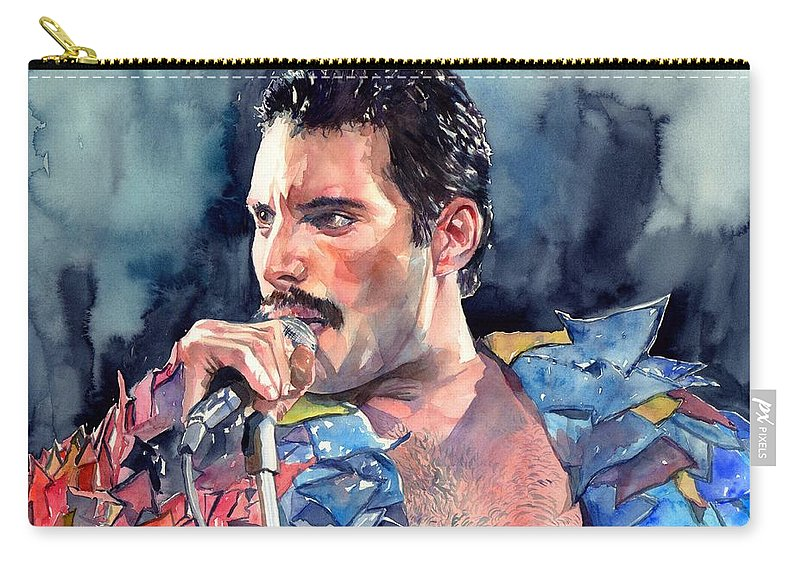 Freddie Carry-all Pouch featuring the painting Freddie Mercury portrait by Suzann Sines