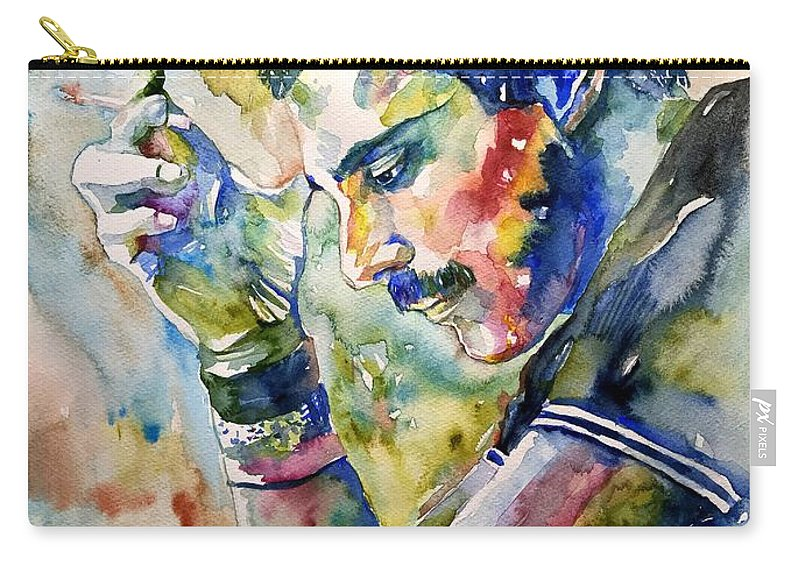 Freddie Carry-all Pouch featuring the painting Freddie Mercury Watercolor by Suzann Sines