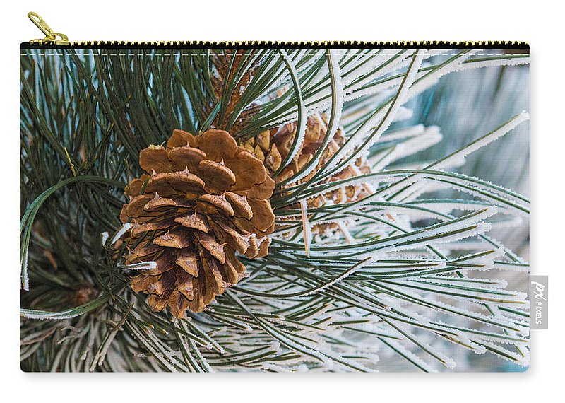 Christmas Carry-all Pouch featuring the photograph Frosty Pine Needles And Pine Cones by Dawn Key