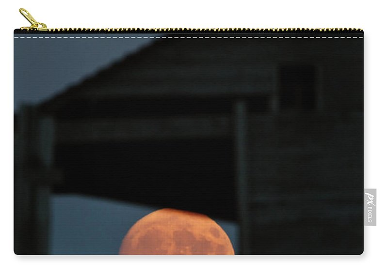Full Moon Carry-all Pouch featuring the digital art Full Moon Seen Through Old Building Window by Mark Duffy