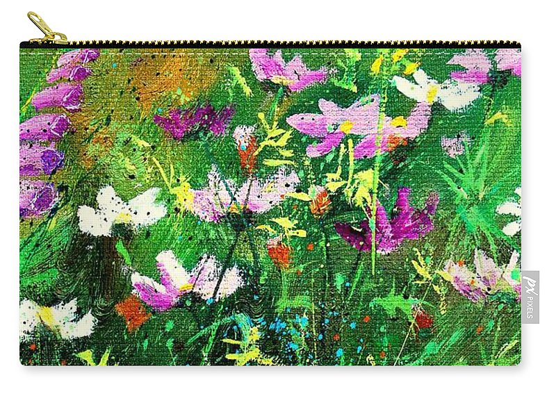 Flowers Carry-all Pouch featuring the painting Garden Flowers by Pol Ledent
