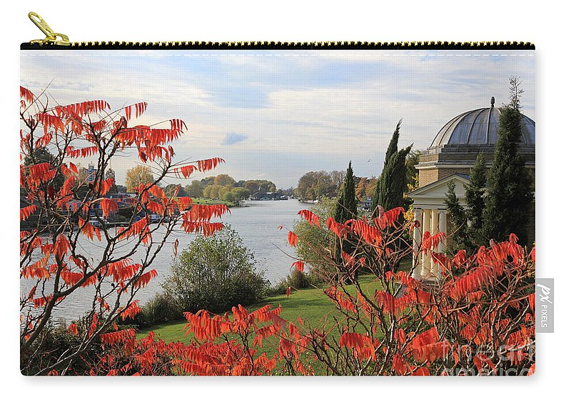 Garrick Temple On The River Thames At Hampton Schumach Tree Red Leaves England Carry-all Pouch featuring the photograph Garrick Temple On The River Thames At Hampton by Julia Gavin