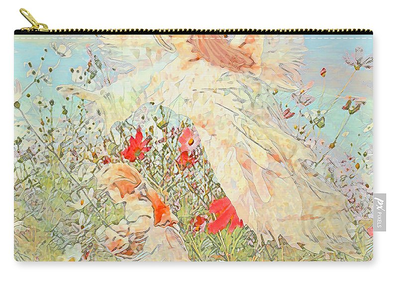 Guardian Angel Carry-all Pouch featuring the mixed media Gathering Flowers by Amelia Carrie