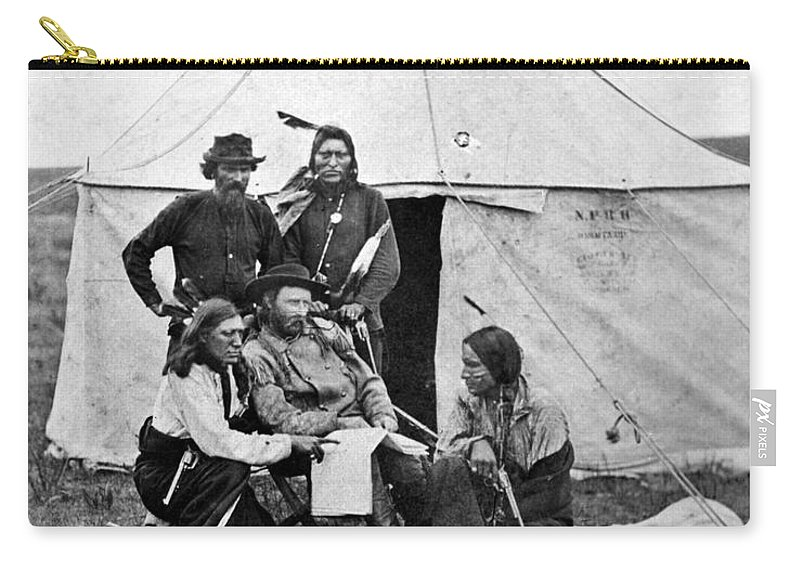 1873 Carry-all Pouch featuring the photograph George Armstrong Custer by Granger