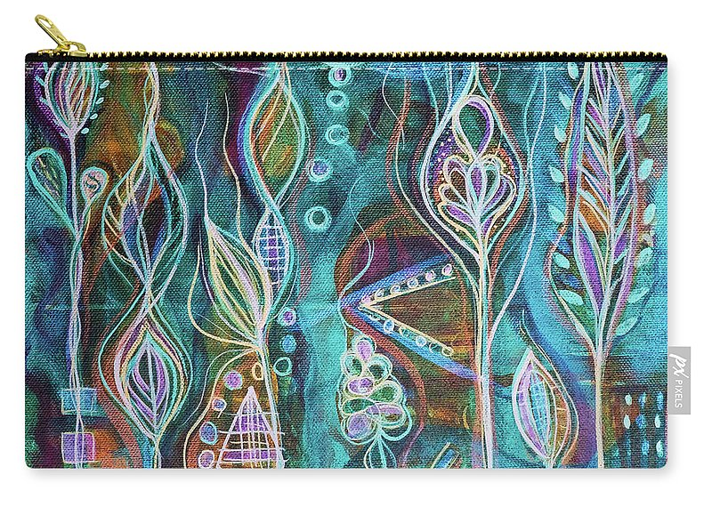 Intuitive Art Carry-all Pouch featuring the painting Glow by Angel Fritz