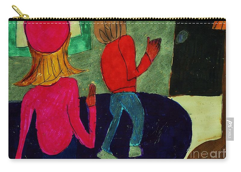 Girl In A Pink Hat Boy Leaving To Go Home Carry-all Pouch featuring the mixed media Going Home by Elinor Helen Rakowski