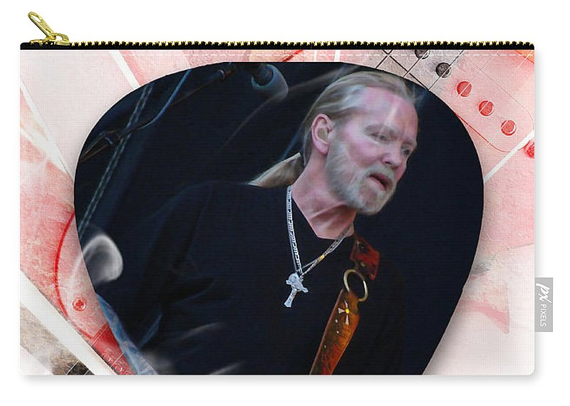 The Allman Brothers Carry-all Pouch featuring the mixed media Gregg Allman Art by Marvin Blaine
