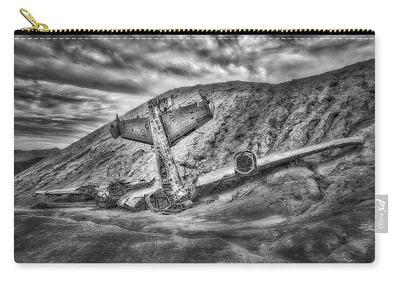 Air Craft Carry-all Pouch featuring the photograph Grounded Plane Wreck by Susan Candelario