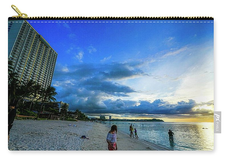 Usa Carry-all Pouch featuring the photograph Guam Tumon Beach Sun Set by Street Fashion News