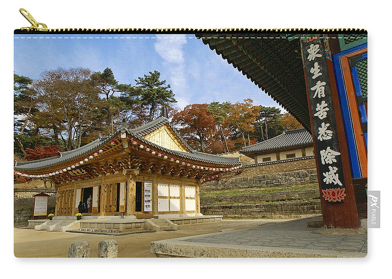 Buddhist Carry-all Pouch featuring the photograph Haeinsa Buddhist Temple by Michele Burgess