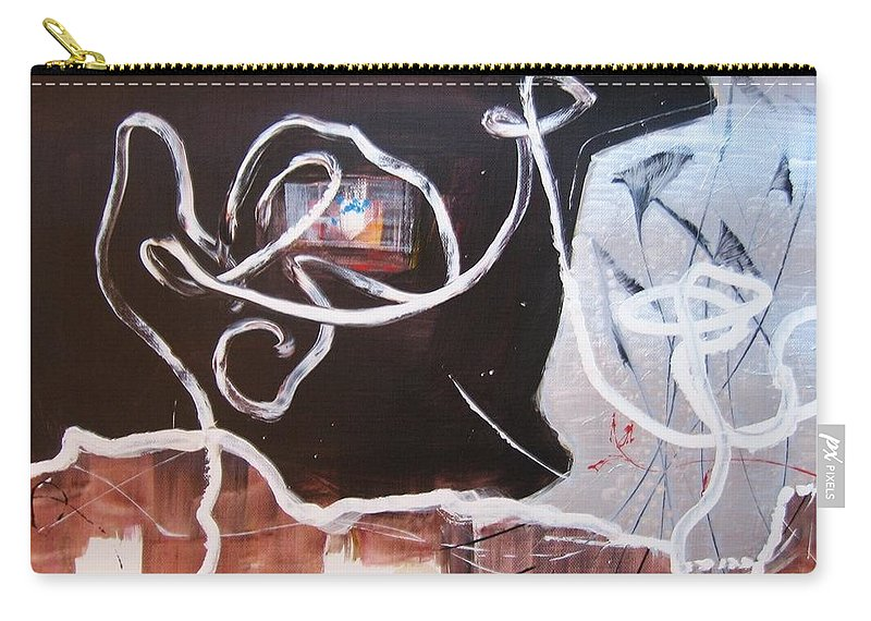 Abstract Paintings Carry-all Pouch featuring the painting Hand In Hand by Seon-Jeong Kim