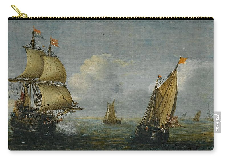 Carry-all Pouch featuring the painting Hans Goderis Dutch Shipping At Sea, 1615 by Adam Asar