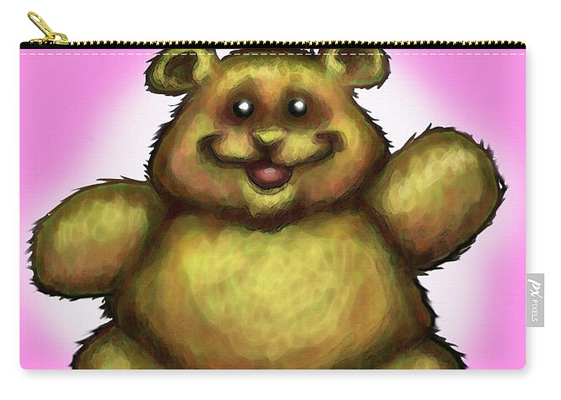 Pink Carry-all Pouch featuring the greeting card Happy Birthday Bear by Kevin Middleton