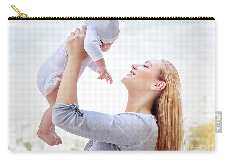 Baby Carry-all Pouch featuring the photograph Happy Mother With Baby by Anna Om