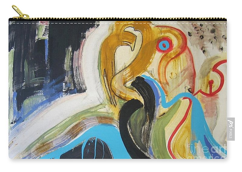 Abstract Art Paintings Carry-all Pouch featuring the painting Hard To Escape by Seon-Jeong Kim