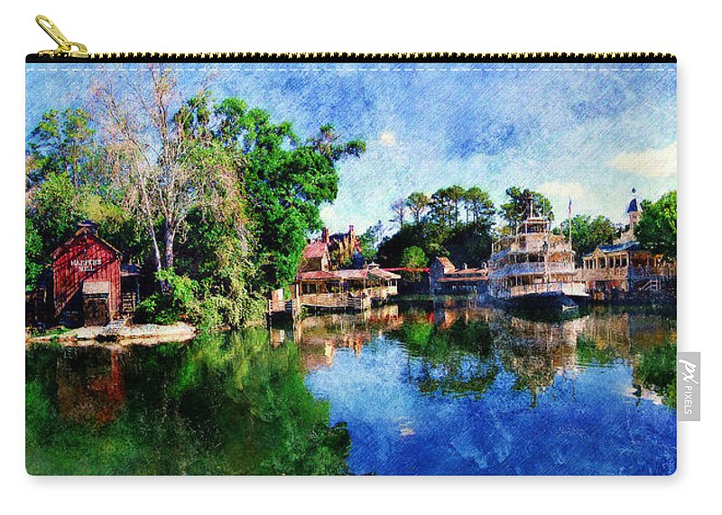 Landscape Carry-all Pouch featuring the digital art Harper's Mill by Sandy MacGowan