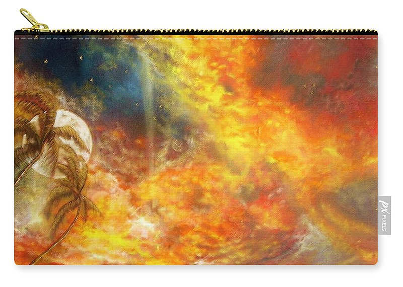 Hawaii Sunset Carry-all Pouch featuring the painting Hawaii Sunset by Leland Castro