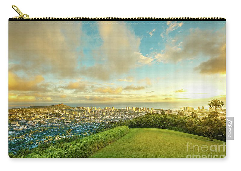 Hawaii Carry-all Pouch featuring the photograph Hawaiian Sunset Tantalus Lookout by Benny Marty
