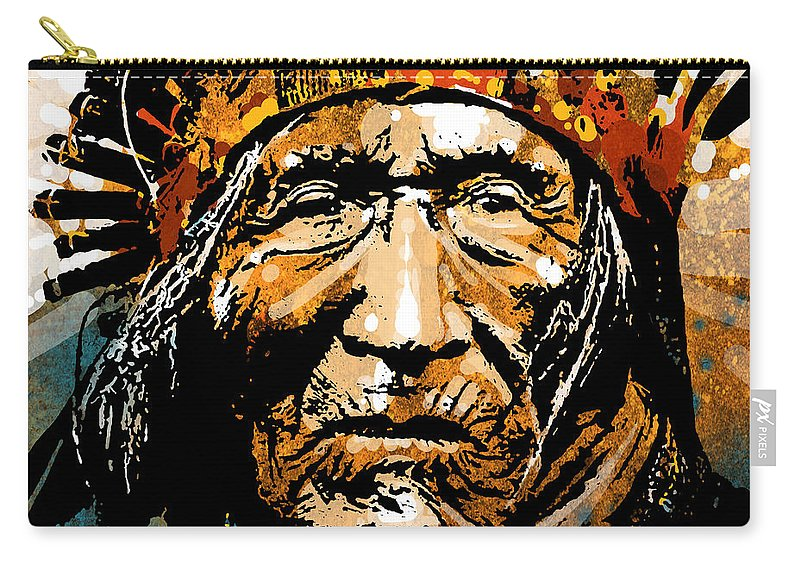 Native American Carry-all Pouch featuring the painting He Dog by Paul Sachtleben