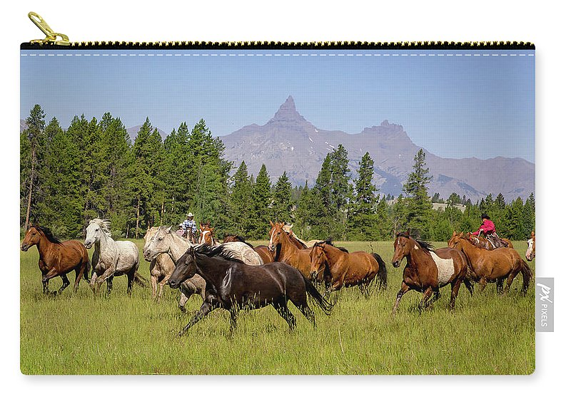 Horses Carry-all Pouch featuring the photograph Head Em Up Move Em Out by Jack Bell
