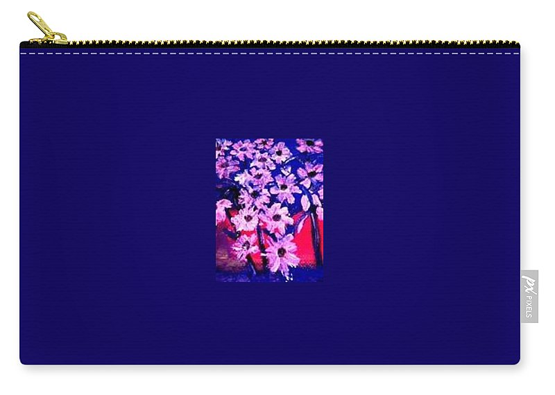 Flowers Carry-all Pouch featuring the painting Sunset With Flowers by Marilyn St-Pierre