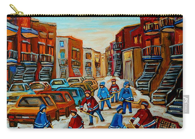 Heat Of The Game Carry-all Pouch featuring the painting Heat Of The Game by Carole Spandau