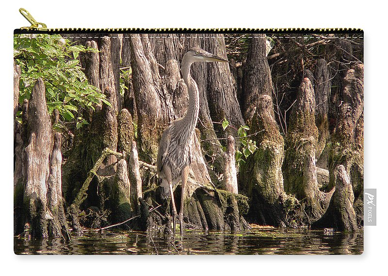 Great Blue Heron Carry-all Pouch featuring the photograph Heron And Cypress Knees by Steven Sparks