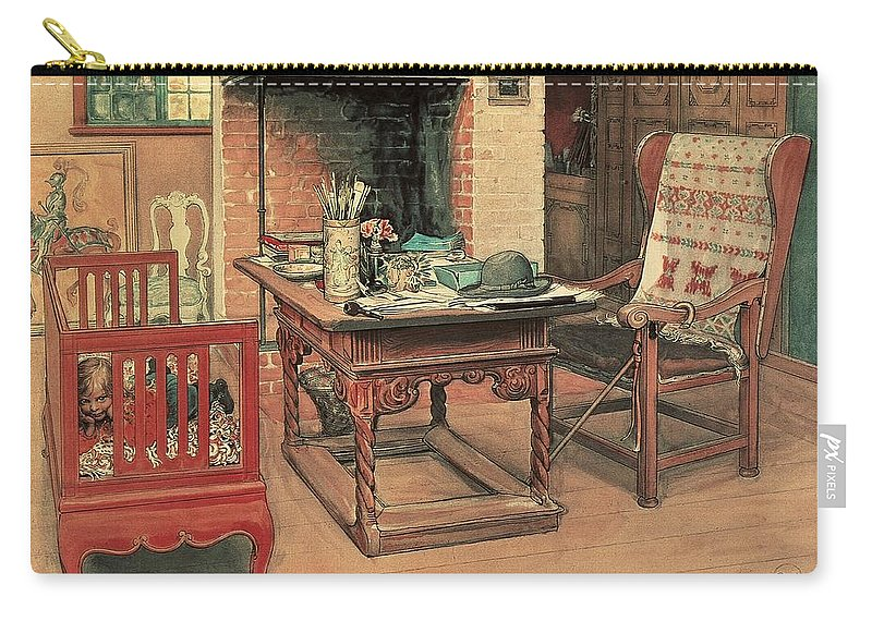 Oil Carry-all Pouch featuring the painting Hide And Seek by Carl Larsson