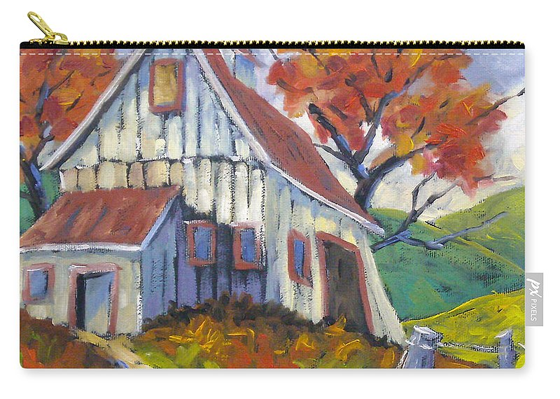 Hill Carry-all Pouch featuring the painting Hillsidebarn by Richard T Pranke