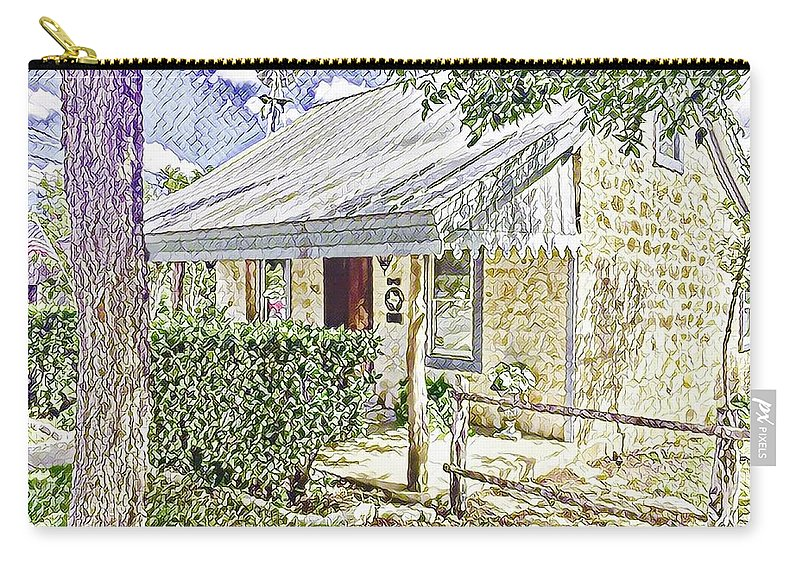 Historic Home Carry-all Pouch featuring the digital art Limestone Cottage by Wendy Biro-Pollard