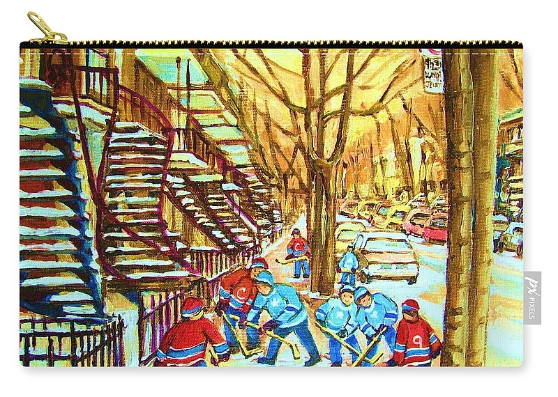 Montreal Carry-all Pouch featuring the painting Hockey Game Near Winding Staircases by Carole Spandau