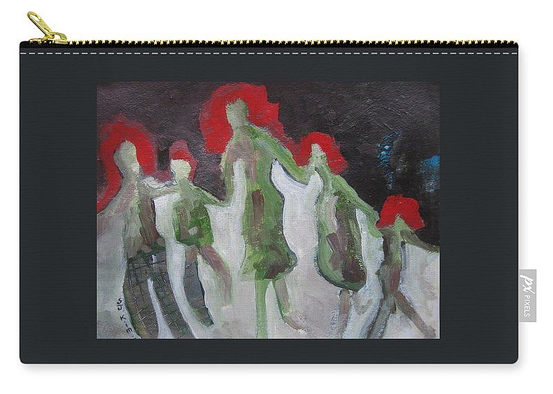Abstract Paintings Carry-all Pouch featuring the painting Holding Hands by Seon-Jeong Kim