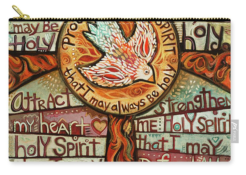 Jen Norton Carry-all Pouch featuring the painting Holy Spirit Prayer by St. Augustine by Jen Norton