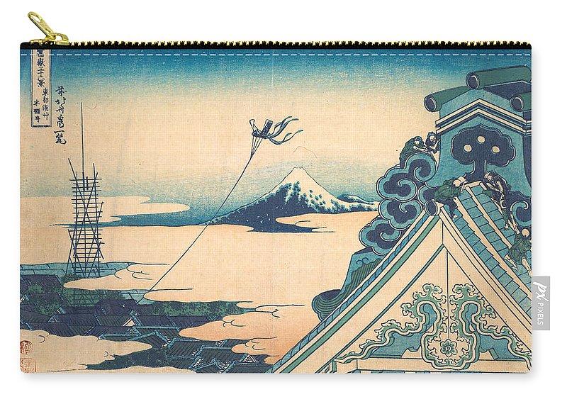 Asia Carry-all Pouch featuring the painting Honganji At Asakusa In Edo by Katsushika Hokusai