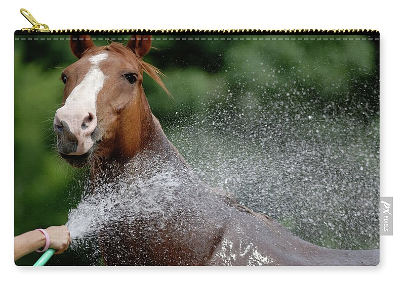 Horse Carry-all Pouch featuring the photograph Horse Bath II by Julie Niemela