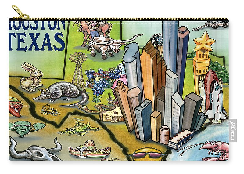 Houston Carry-all Pouch featuring the digital art Houston Texas Cartoon Map by Kevin Middleton