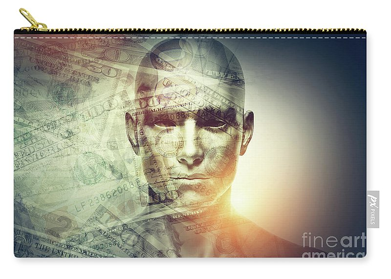 Face Carry-all Pouch featuring the photograph Human Man Face And Dollars Double Exposure. by Michal Bednarek