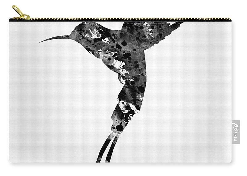 Hummingbird Carry-all Pouch featuring the digital art Hummingbird-black by Erzebet S