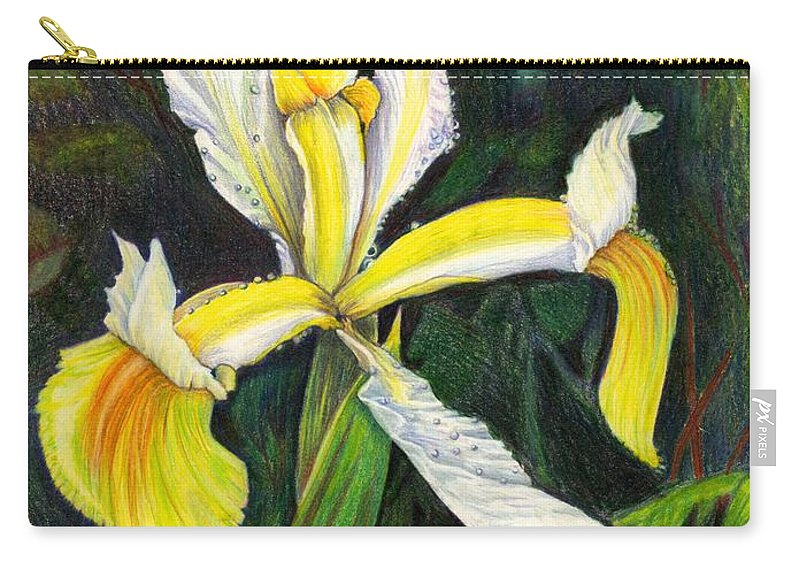 Yellow Iris Carry-all Pouch featuring the drawing I Rise To Thee by Nancy Cupp