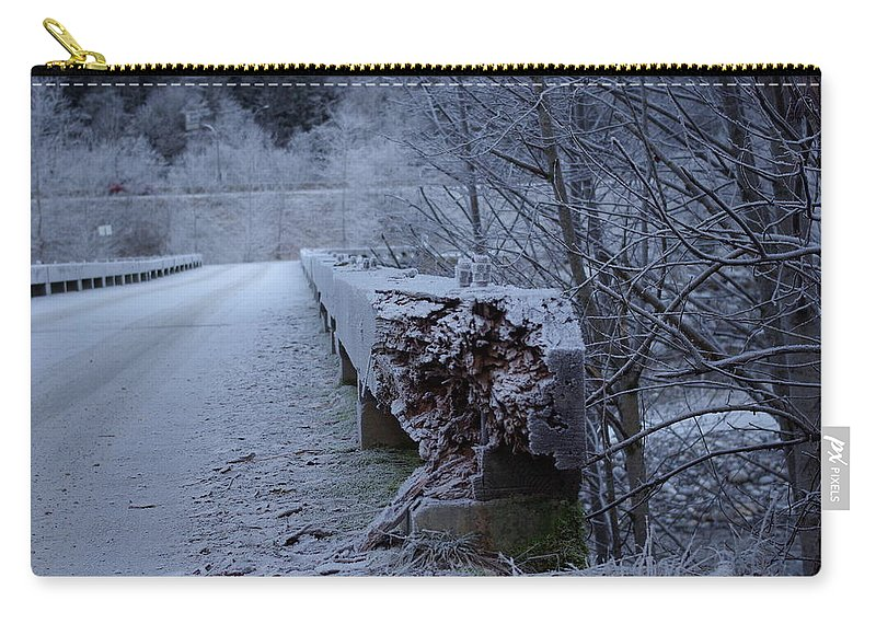 Ice Carry-all Pouch featuring the photograph Ice Bridge by Cindy Johnston