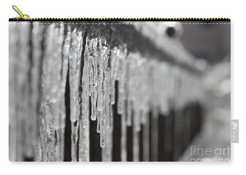 Icicles Carry-all Pouch featuring the photograph Icicles At Attention by Nadine Rippelmeyer