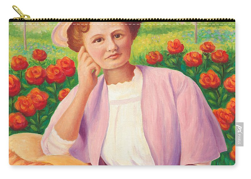 Portrait Carry-all Pouch featuring the painting Ida In The Garden by Amy Vangsgard