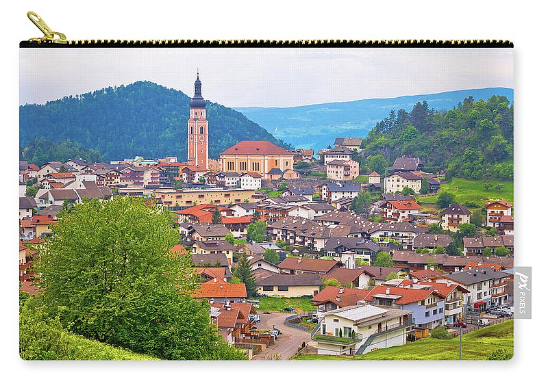 Kastelruth Carry-all Pouch featuring the photograph Idyllic Alpine Town Of Kastelruth On Green Hill View by Brch Photography