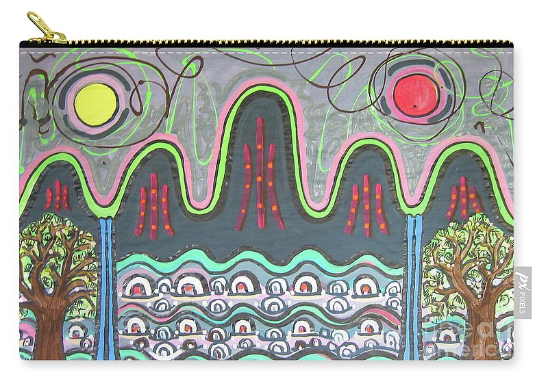 Sjkim Painting Carry-all Pouch featuring the painting Ilwolobongdo Abstract Landscape Painting by Seon-jeong Kim