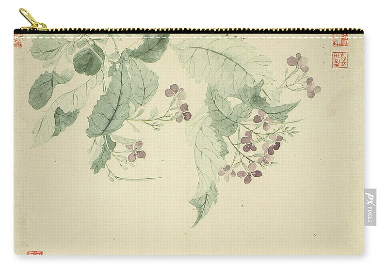 Impatiens Carry-all Pouch featuring the painting Impatiens by Yun Shouping