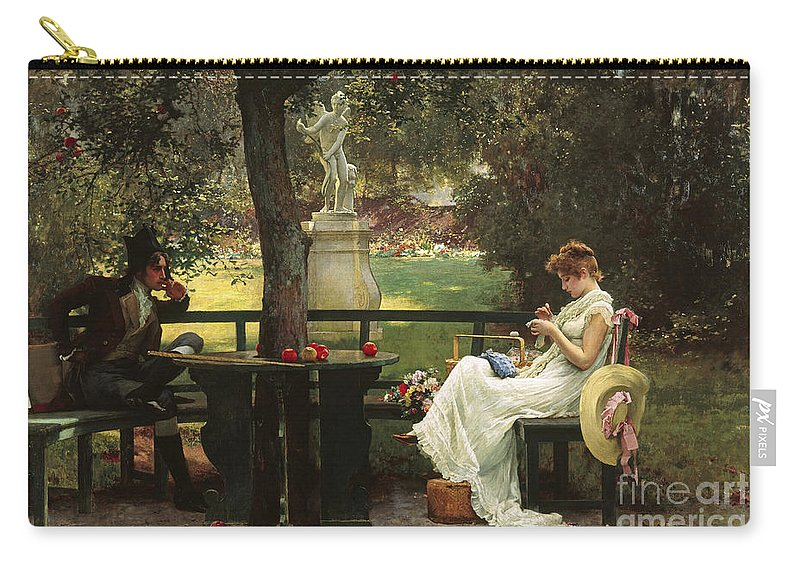 In Love (oil On Canvas) By In Love (oil On Canvas) By Marcus Stone (1840-1921) Carry-all Pouch featuring the painting In Love by Marcus Stone