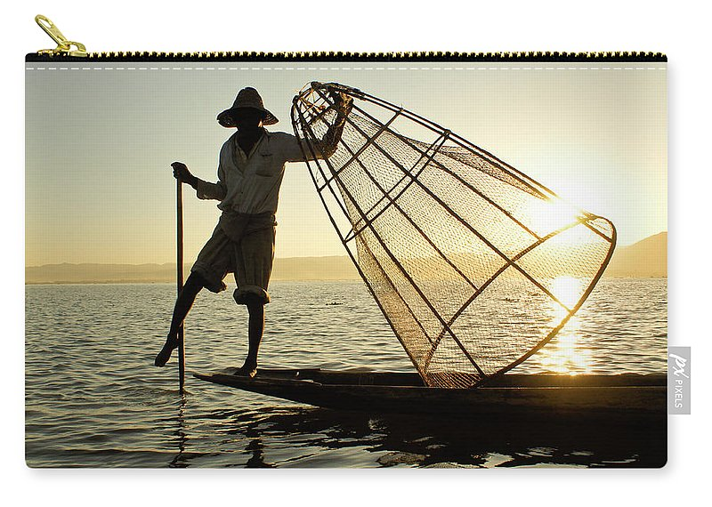 Asia Carry-all Pouch featuring the photograph Inle Lake Fisherman by Michele Burgess
